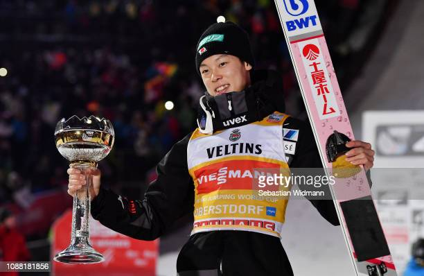 Ryoyu Kobayashi of Japan celebrates his first place after the 67th FIS Nordic World Cup Four Hills Tournament ski jumping event on December 30 2018...