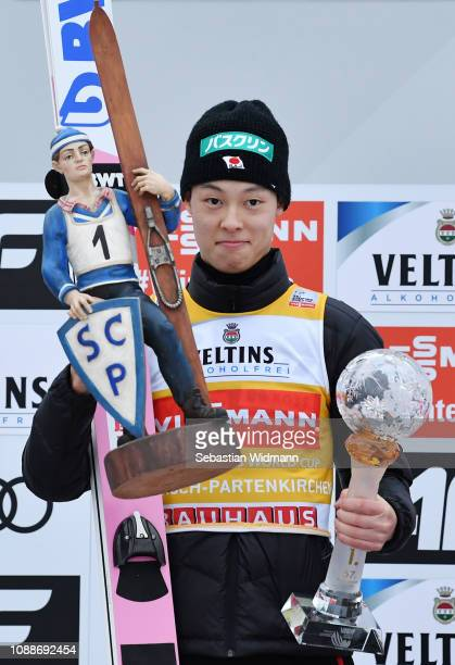 Ryoyu Kobayashi of Japan celebrates his first place on day 4 of the 67th FIS Nordic World Cup Four Hills Tournament ski jumping event on January 01...