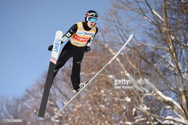 Ryoyu Kobayashi of Japan competes during day two of the FIS Ski Jumping World Cup Sapporo at Okurayama Jump Stadium on January 27, 2019 in Sapporo,...