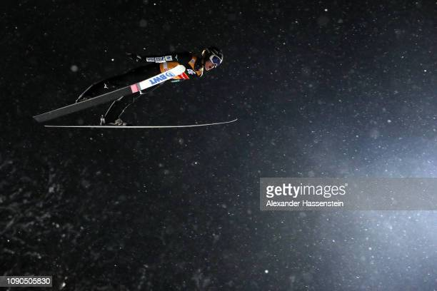 Ryoyu Kobayashi of Japan competes during the first round on day 8 of the 67th FIS Nordic World Cup Four Hills Tournament ski jumping event at...