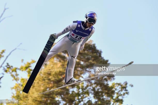 Ryoyu Kobayashi of Japan competes during the FIS Grand Prix Skijumping Hinzenbach at on February 6, 2021 in Eferding, Austria.
