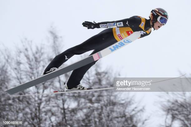 Ryoyu Kobayashi of Japan competes during the qualification round on day 8 of the 67th FIS Nordic World Cup Four Hills Tournament ski jumping event at...
