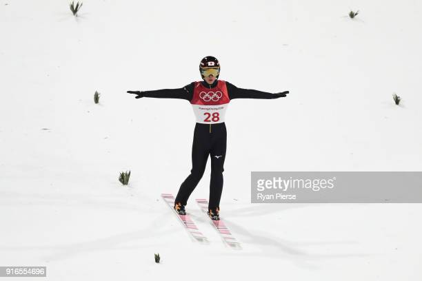 Ryoyu Kobayashi of Japan competes during the Ski Jumping Men's Normal Hill Individual Final on day one of the PyeongChang 2018 Winter Olympic Games...