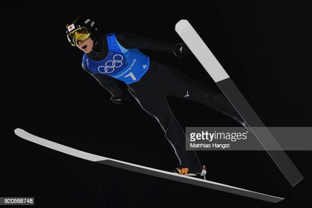 Ryoyu Kobayashi of Japan competes during the Ski Jumping Men's Team Large Hill on day 10 of the PyeongChang 2018 Winter Olympic Games at Alpensia Ski...