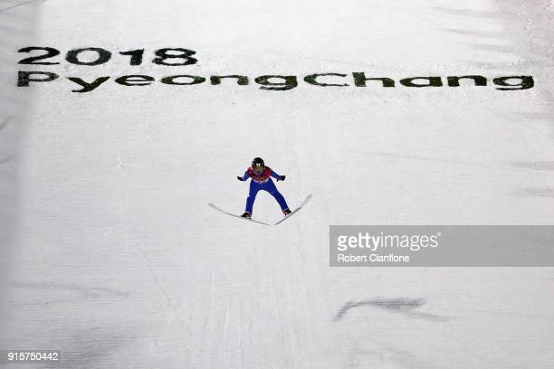 Ryoyu Kobayashi of Japan competes in the Men's Normal Hill Individual Qualification at Alpensia Ski Jumping Centre on February 8 2018 in...