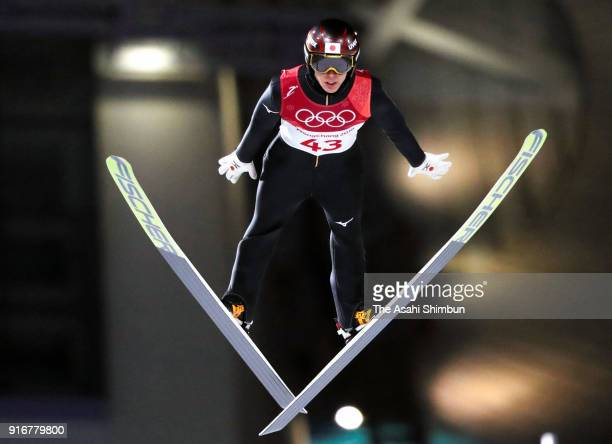 Ryoyu Kobayashi of Japan competes in the second jump during the Ski Jumping Men's Normal Hill Individual Final on day one of the PyeongChang 2018...