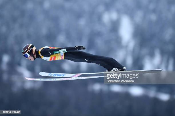 Ryoyu Kobayashi of Japan competes on day 3 of the 67th FIS Nordic World Cup Four Hills Tournament ski jumping event on December 31 2018 in...
