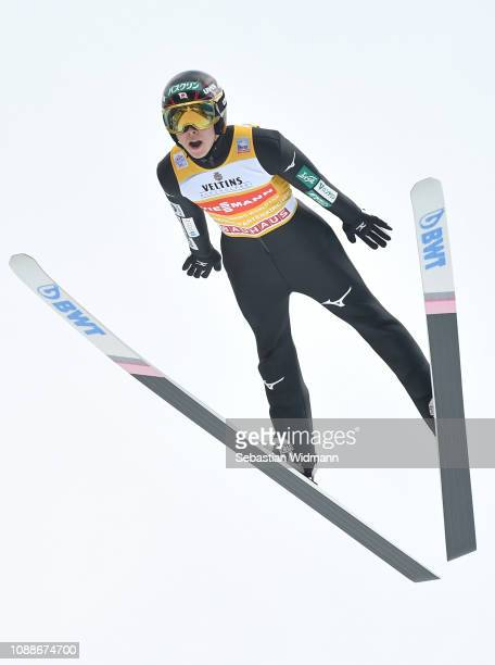 Ryoyu Kobayashi of Japan competes on day 4 of the 67th FIS Nordic World Cup Four Hills Tournament ski jumping event on January 01 2019 in...