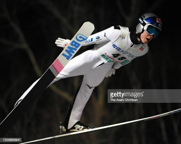 Ryoyu Kobayashi of Japan competes on day one of the FIS Ski Jumping World Cup Sapporo at Okurayama Jump Stadium on February 1 2020 in Sapporo...