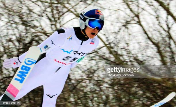Ryoyu Kobayashi of Japan competes on day two of the FIS Ski Jumping World Cup Sapporo at Okurayama Jump Stadium on February 2 2020 in Sapporo...