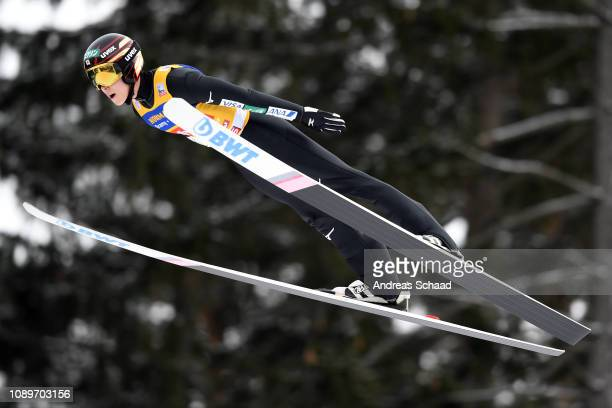 Ryoyu Kobayashi of Japan flies during the practice jump on day 6 of the 67th FIS Nordic World Cup Four Hills Tournament ski jumping event on January...
