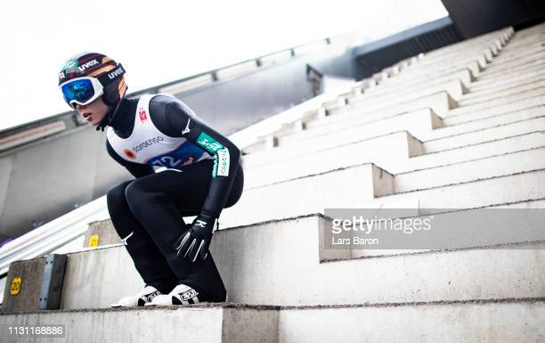 Ryoyu Kobayashi of Japan is seen during the ski jumping training of the FIS Nordic World Ski Championships on February 21 2019 in Innsbruck Austria