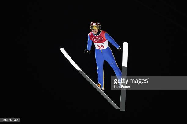 Ryoyu Kobayashi of Japan jumps during Men's Normal Hill Individual Trial Round for Qualification at Alpensia Ski Jumping Centre on February 8 2018 in...