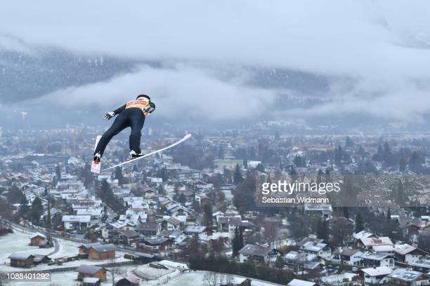 Ryoyu Kobayashi of Japan jumps during the practice session on day 3 of the 67th FIS Nordic World Cup Four Hills Tournament ski jumping event on...