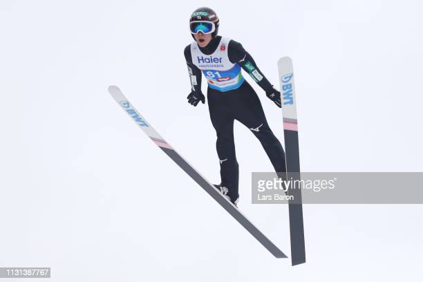 Ryoyu Kobayashi of Japan jumps during the qualification round of the HS130 men's ski jumping Competition of the FIS Nordic World Ski Championships at...
