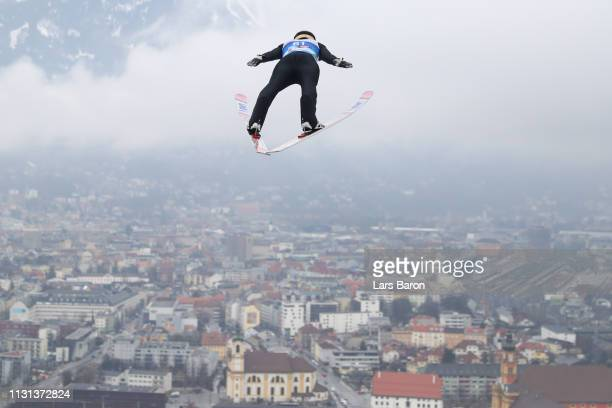 Ryoyu Kobayashi of Japan jumps during the trial round of the HS130 men's ski jumping Competition of the FIS Nordic World Ski Championships at...
