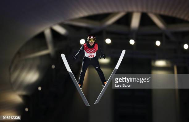 Ryoyu Kobayashi of Japan makes a jump during the Ski Jumping Men's Normal Hill Individual Final on day one of the PyeongChang 2018 Winter Olympic...