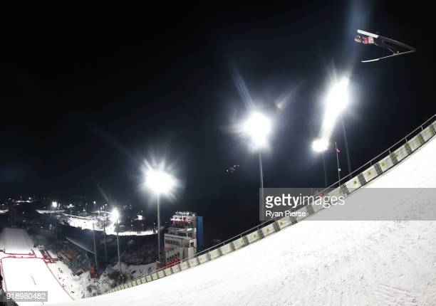 Ryoyu Kobayashi of Japan makes a trial jump during the Ski Jumping Men's Large Hill Individual Qualification at Alpensia Ski Jumping Center on...