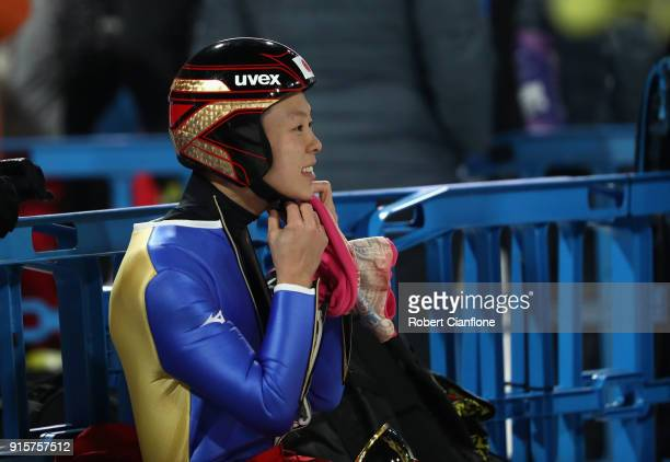 Ryoyu Kobayashi of Japan reacts after competing during Men's Normal Hill Individual Qualification at Alpensia Ski Jumping Centre on February 8 2018...