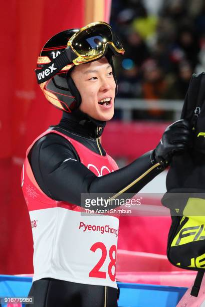 Ryoyu Kobayashi of Japan reacts after competing in the first jump during the Ski Jumping Men's Normal Hill Individual Final on day one of the...