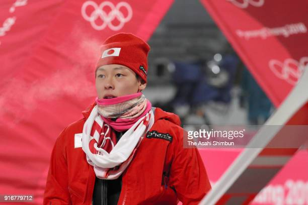 Ryoyu Kobayashi of Japan reacts after competing in the second jump during the Ski Jumping Men's Normal Hill Individual Final on day one of the...