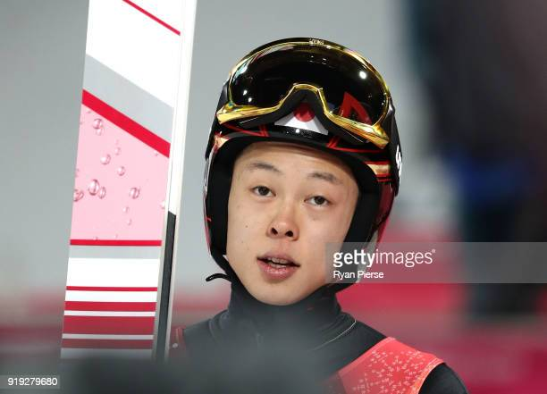 Ryoyu Kobayashi of Japan reacts after his jump during the Ski Jumping Men's Large Hill Final on day eight of the PyeongChang 2018 Winter Olympic...