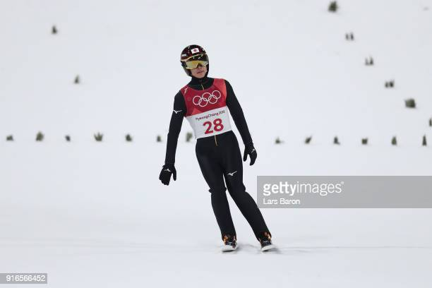 Ryoyu Kobayashi of Japan reacts after landing a jump during the Ski Jumping Men's Normal Hill Individual Final on day one of the PyeongChang 2018...