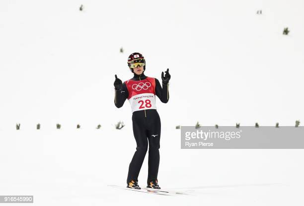 Ryoyu Kobayashi of Japan reacts during the Ski Jumping Men's Normal Hill Individual Final on day one of the PyeongChang 2018 Winter Olympic Games at...