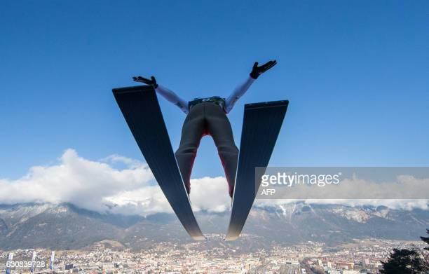 TOPSHOT Ryoyu Kobayashi of Japan soars through the air during his second trial jump of the Four Hills competition of the FIS Ski Jumping World Cup in...