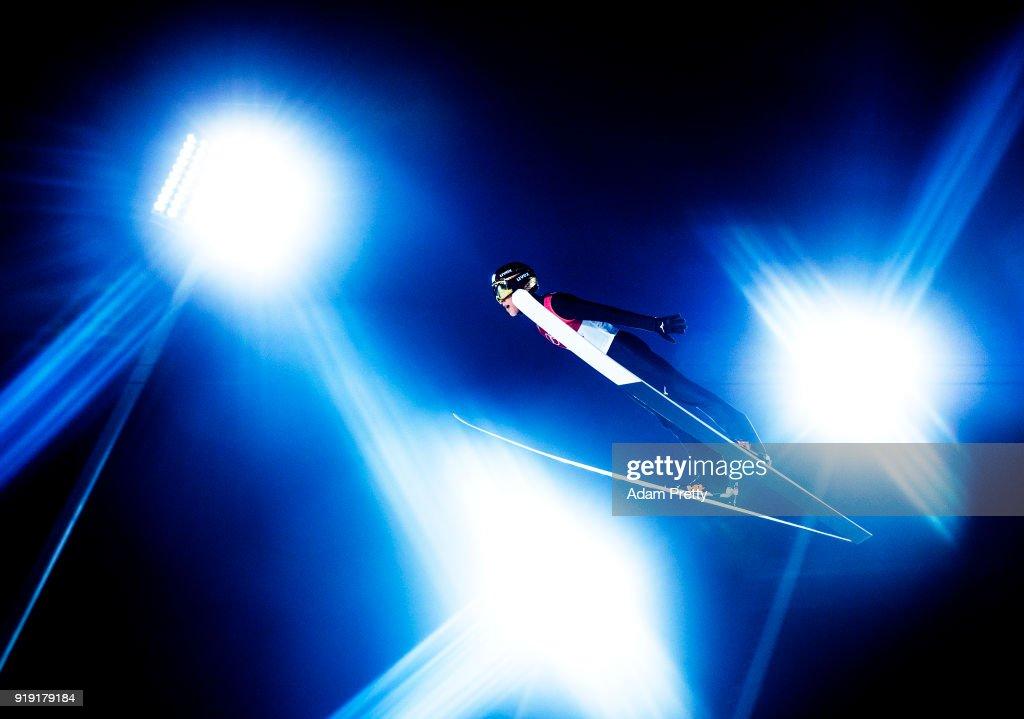 Ryoyu Kobayashi of Japan soars through the air during the Ski Jumping Men's Large Hill Individual Qualification at Alpensia Ski Jumping Center on February 16, 2018 in Pyeongchang-gun, South Korea.