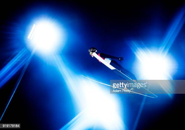 Ryoyu Kobayashi of Japan soars through the air during the Ski Jumping Men's Large Hill Individual Qualification at Alpensia Ski Jumping Center on...