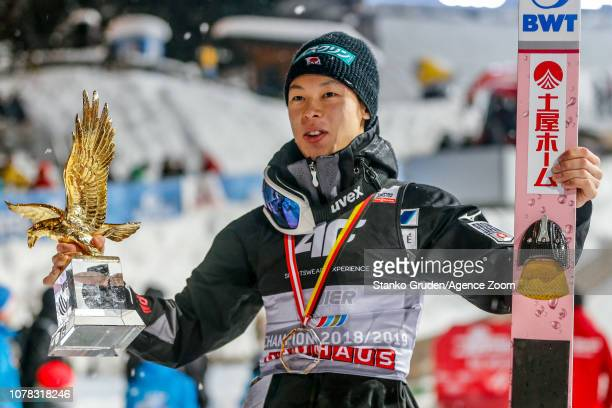 Ryoyu Kobayashi of Japan takes 1st place during the FIS Nordic World Cup Four Hills Tournament on January 6 2019 in Bischofshofen Austria
