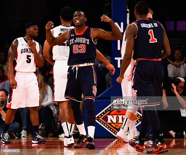 Rysheed Jordan of the St John's Red Storm celebrates a basket in the first half during a game against the Gonzaga Bulldogs at Madison Square Garden...