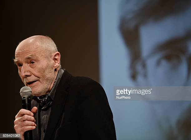 Ryszard Krynicki a Polish poet translator and publisher one of the poets of the New Wave during an evening of Stanislaw Baranczak's poetry at the...