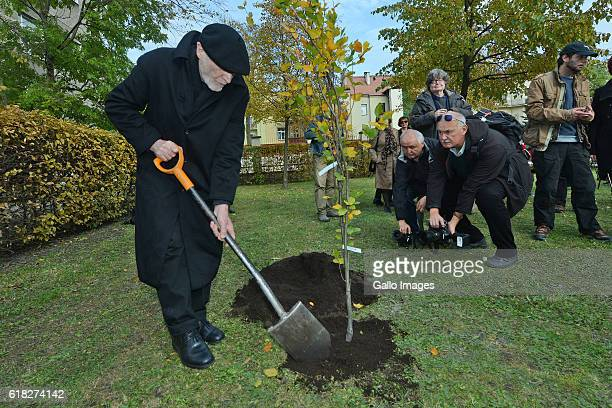 Ryszard Krynicki attends the ceremony of planting Wislawa Szymborskaâs acacia on October 24 2016 near Dworek Lowczego in Krakow Poland Szymborska the...