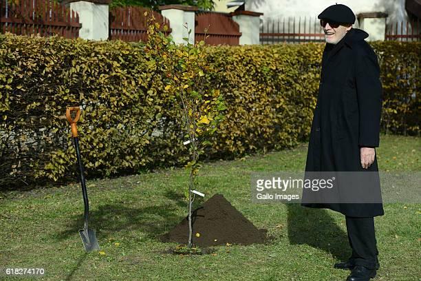 Ryszard Krynicki attends the ceremony of planting Wislawa Szymborskaâs acacia on October 24 2016 near Dworek Lowczego in Krakow Poland Szymborska the...