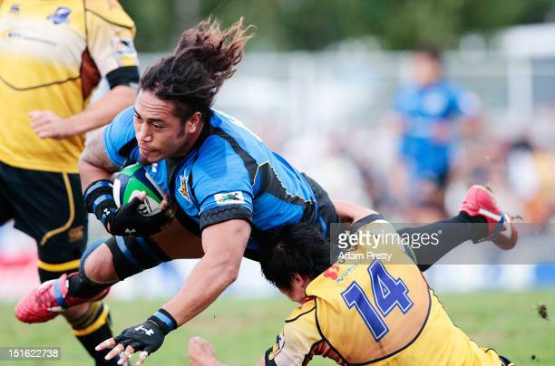 Ryu Koriniashi Holani of the Panasonic Wild Knights in action during the Rugby Top League match between Panasonic Wild Knights and NTT Communications...