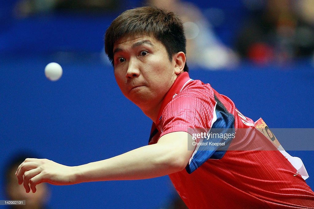 Ryu Seung Min of South Korea plays a forehand during his match against Stefan Fegerl of Austria during the LIEBHERR table tennis team world cup 2012 championship division group C men's team match between South Korea and Austria at Westfalenhalle Dortmund on March 28, 2012 in Dortmund, Germany. South Korea won 3-1 against Austria.