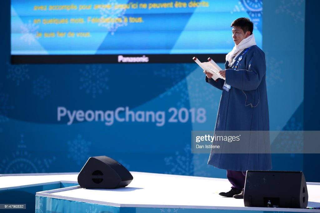 Ryu Seung-Min, the Mayor of the Olympic Village speaks on stage before the Germany team's flag raising ceremony during previews ahead of the PyeongChang 2018 Winter Olympic Games at the Pyeongchang Olympic Athletes' Village on February 6, 2018 in Pyeongchang-gun, South Korea.