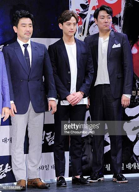 Ryu SeungRyong Kwon Yul and Jo JinWoong attend the movie 'Roaring Currents' press conference at Apgujeong CGV on June 26 2014 in Seoul South Korea