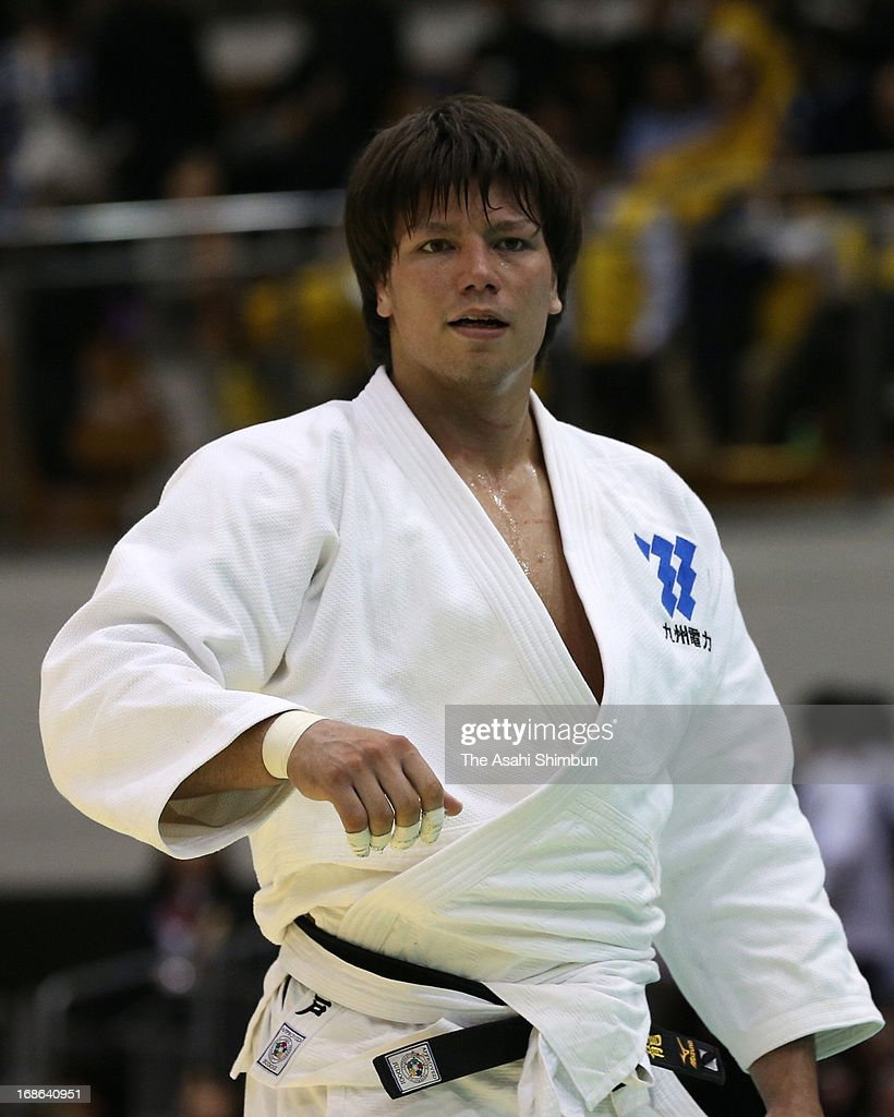 Ryu Shichinohe celebrates after winning the Men's over 100kg during the All Japan Judo Championships By Weight Category at Fukuoka Convention Center on May 12, 2013 in Fukuoka, Japan.