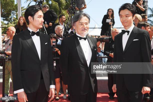 Ryuhei Matsuda director Kiyoshi Kurosawa and Hiroki Hasegawa attend the 'Before We Vanish ' screening during the 70th annual Cannes Film Festival at...
