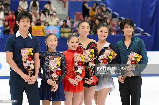 Ryuichi Kihara Narumi Takahashi Satoko Miyahara Rika Hongo Kanako Murakami and Takahiro Kozuka pose during day three of the 83rd All Japan Figure...
