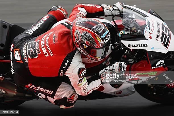 Ryuichi Kiyonari of Bennetts Suzuki team rides during practice for the British Superbike Championship at Brands Hatch on May 20 2016 in Longfield...