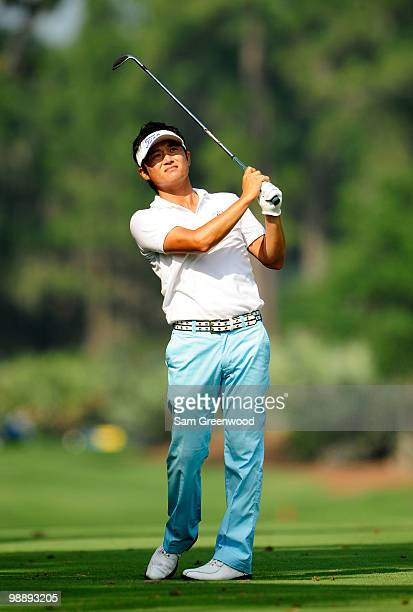 Ryuji Imada of Japan hits a shot on the sixth hole during the first round of THE PLAYERS Championship held at THE PLAYERS Stadium course at TPC...