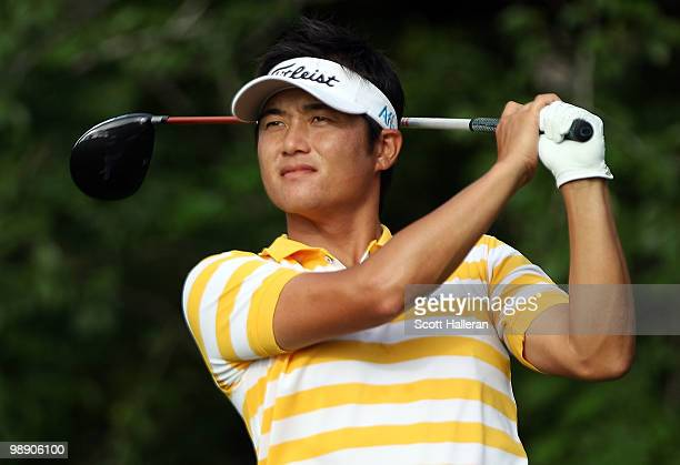 Ryuji Imada of Japan hits his tee shot on the fifth hole during the second round of THE PLAYERS Championship held at THE PLAYERS Stadium course at...
