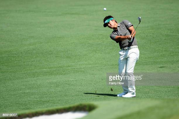 Ryuji Imada of Japan plays a pitch shot on the second hole during the final round of the 2009 Masters Tournament at Augusta National Golf Club on...