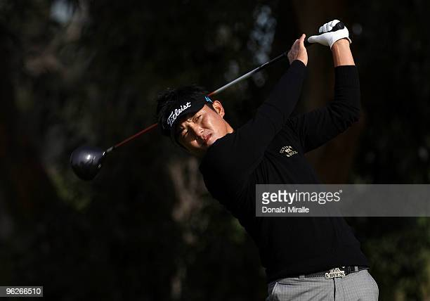 Ryuji Imada of Japan tees off the 5th hole during the second round of the 2010 Farmers Insurance Open on January 29, 2010 at Torrey Pines Golf Course...