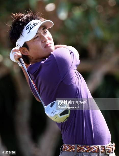 Ryuji Imada plays a shot during the third round of the Mercedes-Benz Championship at the Plantation Course on January 10, 2009 in Kapalua, Maui,...
