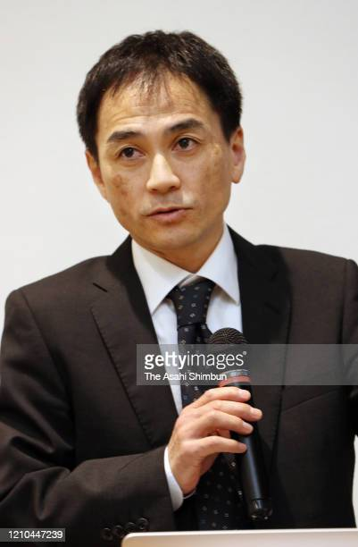 Ryuji Shikaku, curator of Okayama Orient Museum attends a press conference at Munakata Taksha Shrine on March 1, 2020 in Munakata, Fukuoka, Japan. A...